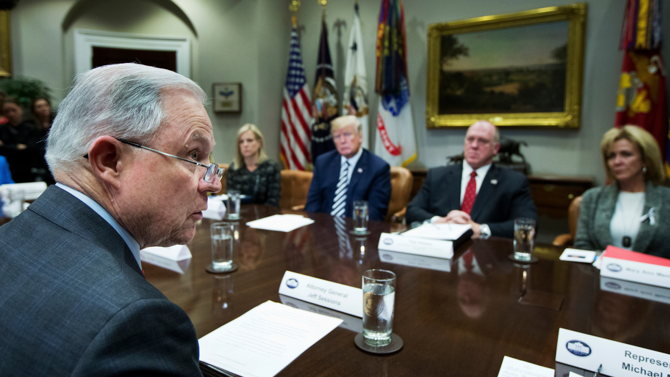 Donald Trump, Jeff Sessions, Kirstjen Nielsen, Thomas Homan, Mary Ann Mendoza