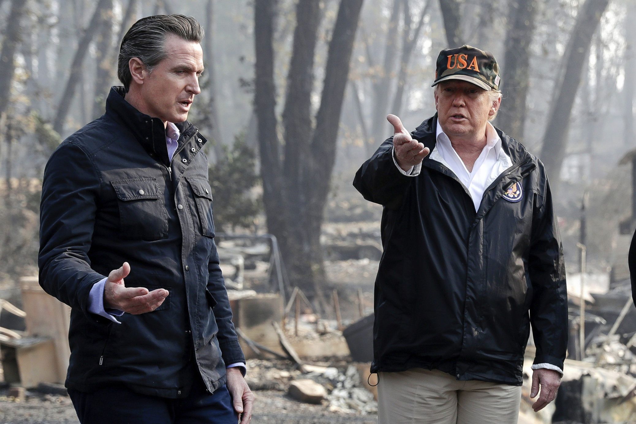 Gavin Newsom, Donald Trump, Jerry Brown